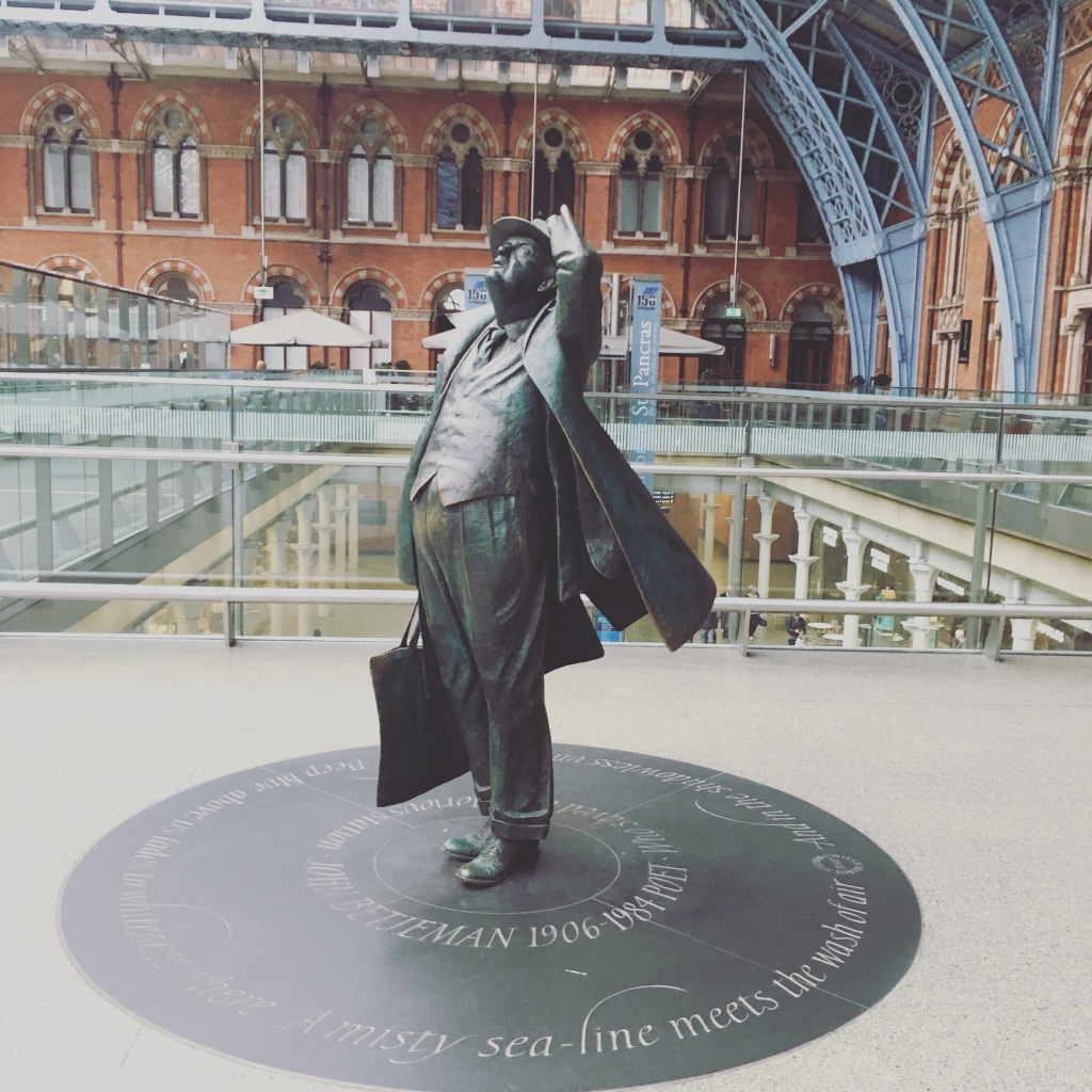 Sir John Betjeman statue at St Pancras Station - it's upstairs by the nice bar